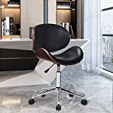 EASIGO Adjustable Modern Mid-Century Office Chair with Curved Seat/Back, Swivel Executive Chair, Rolling Computer Chair, Wooden Accent, Stainless Steel Legs and 5 Wheels for Home and Office, Black