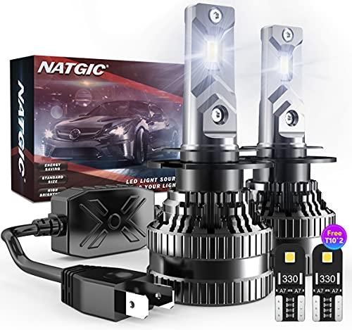 NATGIC H7 Lampadine per Fari a LED con 2PCS Lampadine LED T10, 300% di Luminosit Kit di Conversione H7 LED CanBus con Driver Intelligente EMC Aggiornato, 12000LM Bianco 6500K(Totale 4 Lampadine LED)