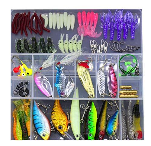 TUXIBIN - Set di Esche da Pesca assortite, universali, Multifunzione, con Scatola per Attrezzatura da Pesca, Include Spinner, Vermi, cucchiai, Esche dure, Esche affondanti, ECC. YE101p