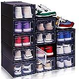 Shoe Storage Boxes Shoe Organizer For Closet - 12 Clear Shoe Boxes Stackable, Closet Organizer with Plastic Drawers, Shoe Boxes Clear Plastic Stackable, Shoes Organizers and Storage, Sneaker Storage