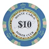 Brybelly Monte Carlo Premium Poker Chip Heavyweight 14-Gram Clay Composite - Pack of 50 ($10 Blue)