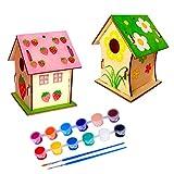 N\O Miystn La Casetta degli Uccellini, Casetta per Uccellini da Giardino, Kit Casetta per Uccelli, Arte e Artigianato e Progetti da Giardino (2 Pezzi, Casetta per Uccelli)