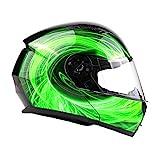 Typhoon TH158 Adult Modular Motorcycle Helmet DOT Dual Visor Full Face Flip-up - Green Medium