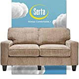 Serta Palisades Upholstered Sofas for Living Room Modern Design Couch, Straight Arms, Soft Fabric Upholstery, Tool-Free Assembly, 61' Loveseat, Beige