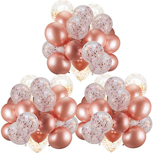 60 Pack Dandy Decor Rose Gold Balloons + Confetti Balloons w/Ribbon | Rosegold Balloons for Parties | Bridal & Baby Shower Balloon Decorations | Latex Party Balloons | Graduation, Engagement, Wedding