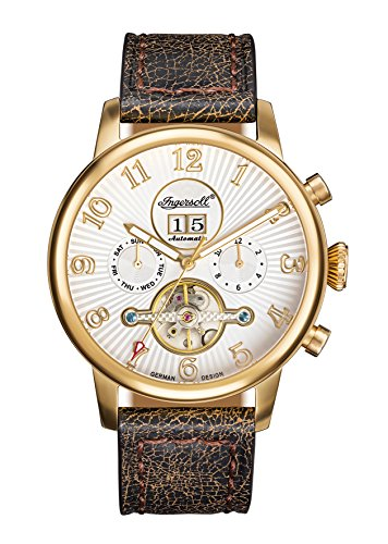 Ingersoll Herren Analog Automatik Uhr mit Leder Armband IN1103GWH