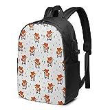 WEQDUJG Mochila Portatil 17 Pulgadas Mochila Hombre Mujer con Puerto USB, Fox 720 Mochila para El Laptop para Ordenador del Trabajo Viaje