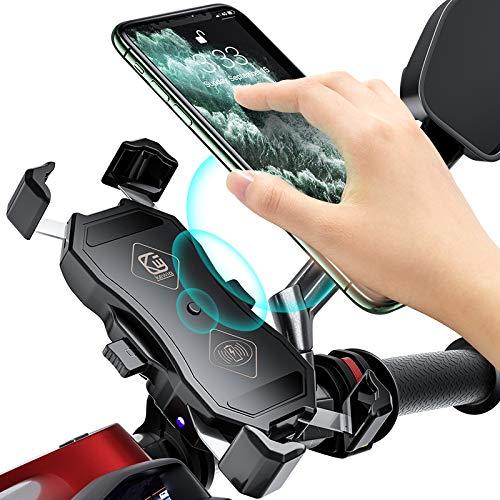 YGL Porta Telefono per Moto con Caricabatterie Wireless e Caricatore USB, Caricabatterie Wireless a Ricarica Rapida 15 W, Supporto per Telefono Caricabatterie QC3.0 per Moto