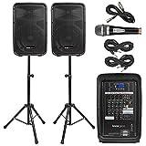 "Knox Dual Speaker and Mixer Kit – Portable 8"" 300 Watt DJ PA System..."