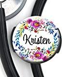 Stethoscope Tag - Watercolor Wreath - Personalized...