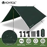 V VONTOX Bâche Anti-Pluie 3 x 3M, Rain Tarp Portable Ripstop, Léger Imperméable à l'eau pour lRandonnée, Backpacking, Picnic