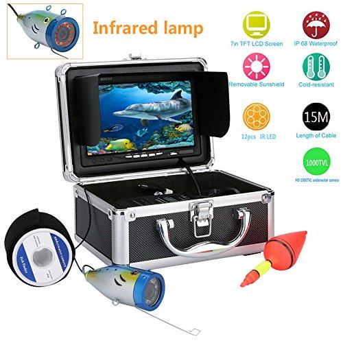 GAMWATER 7' Inch 1000tvl Underwater Fishing Video Camera Kit 12 PCS LED Infrared Lamp Lights Video...