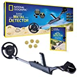 NATIONAL GEOGRAPHIC Junior Metal Detector for Kids with 7.5' Waterproof Dual Coil, Adjustable Lightweight Design for Treasure Hunting Beginners, with 5 Replica Gold Doubloons