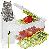 Aieruma Vegetable Chopper 11 in 1, Pro Onion Chopper Food Cutter, Stainless Steel Blades + ABS plastic (BPA free), Heavier Duty Multi Vegetable-Fruit-Cheese-Onion Chopper-Dicer-Kitchen Cuttert