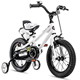 RoyalBaby Kids Bike Boys Girls Freestyle BMX Bicycle with Training Wheels Kickstand Gifts for Children Bikes 16 Inch White