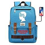 Mochila Escolar, clásica Neutral Mochila Ligera Impermeable Mochila de Viaje para portátil de 15 Pulgadas con Puerto de Carga USB Grande Azul