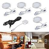 Kit de lumières LED intérieur de voiture, 12V Blanc chaud Lumières du...