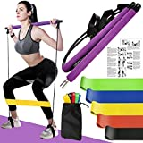 Pilates Bar with Resistance Bands Set, Home Gym Yoga Exercise Portable Stick Toning Bar with Foot Loop for Total Body Workout, Stretching, Sculpt, Twisting & Sit-Up