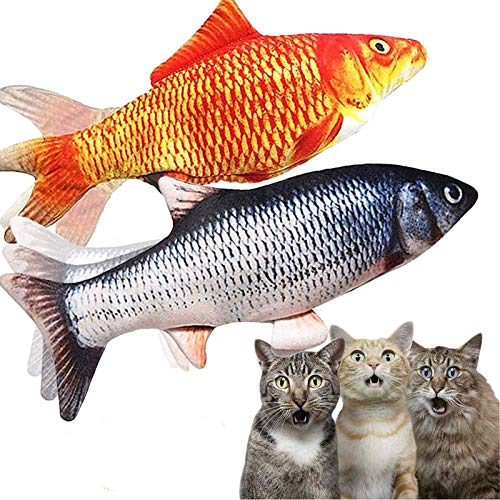 2-Pack-Flopping-Fish-Cat-ToyElectric-Moving-Fish-Toys-for-Indoor-CatsRealistic-Plush-Simulation-Dancing-Wagging-Fish-Cat-Toy-Catnip-Kicker-Bite-Toys-Motion-Kitten-Toy-Interactive-chew-cat-toys