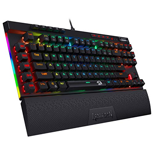 Redragon K587 Magic-Wand 87 Keys Compact RGB TKL Mechanical Gaming Keyboard, Type-C Keyboard with 9 Onboard Macro Keys, Detachable Wrist Rest, Blue Switches