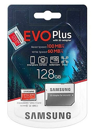 Samsung, Evo Plus, 128GB Micro SD SDXC, Clase 10 U3, Tarjeta de memoria, 100MB / S, 4K Ultra HD, MB-MC128HA / EU