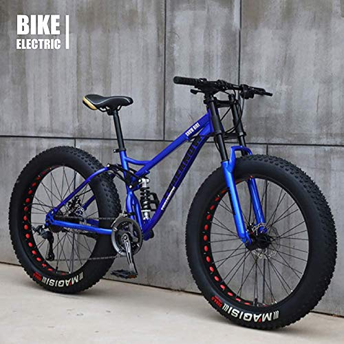 Product Image 1: GaoFan Bicycle MTB Top, Fat Wheel Motorbike/Fat Bike/Fat Tire Mountain Bike, Beach Cruiser Fat Tire Bike Snow Bike Fat Big Tyre Bicycle 21speed Fat Bikes for Adult,Blue,26IN