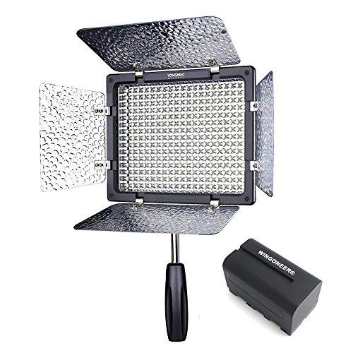 (con Batteria e Caricabatteria) 300 LEDs YN-300 Luce Video a LED 5500K + IR Telecomando per Canon, Nikon, Pentax, Panasonic,SONY, Samsung and Olympus Digital SLR Cameras Videocamera Aggiornamento da YN160 YN160S CN 160
