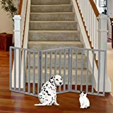 PETMAKER 80-62875-G Wooden Pet Gate- Foldable 3-Panel Indoor Barrier Fence, Freestanding & Lightweight Design for Dogs, Puppies, Pets- 54 X24 (Gray Paint), 54' X 24'