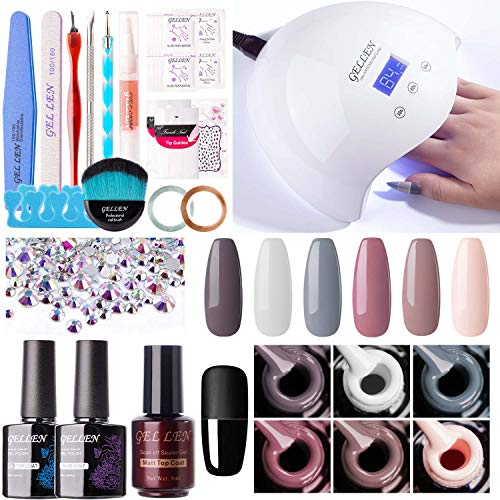 Gellen Gel Nail Polish Kit with UV Light Nail Dryer, 6 Gel Nail Colors, No Wipe Top Base Coat, Nail Art Decorations, Manicure Tools, All-In-One Manicure Kit, Nude Grays