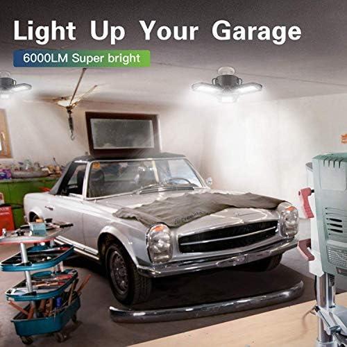 2-Pack LED Garage Light, 60W LED Shop Light with E26/E27 Medium Base, 6000LM Triple LED Garage Lighting, 6500K Screw in LED Tri Light for Attic, Basement 17