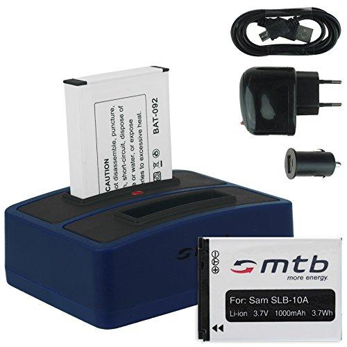 2x Batteria + Caricabatteria doppio (USB/Auto/Corrente) per Samsung SLB-10A / Toshiba Camileo X-Sports/JVC Adixxion/Silvercrest/Medion Action Cam. v. lista