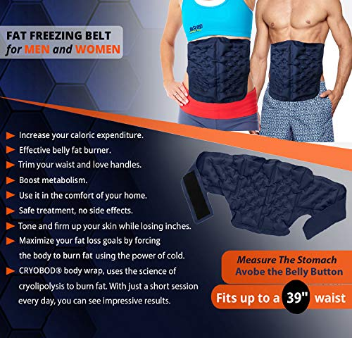 CRYOBOD Fat Freezer Belt - Cold Body Sculpting Kit for Easy Slimming-Body Shaper - Tummy Tuck, Shrink Belt Wrap - Skin-Safe Fat Trimmer to Get Slimmer - For Women and Men-For Women and Men - Fits 29 to 39 Inch Waist 6
