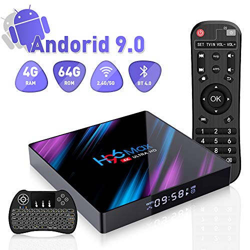 Android 9.0 Smart TV Box, H96 Max 4GB RAM 64GB ROM 4K Full HD Tv Box with RK3318 Quad Core CPU, Support 2.4G/5G WiFi H.265 BT4.0 USB3.0 Wireless Mini Backlit Keyboard