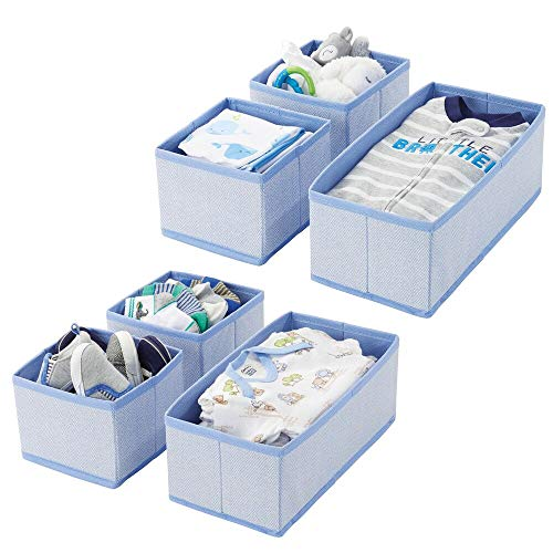 mDesign Set da 6 Organizer in stoffa  Contenitore portaoggetti in fibra sintetica per calze, biancheria, leggins, ecc.  Versatili box per cassetti per camera da letto  blu