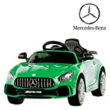 Uenjoy Electric Kids Ride On Car Mercedes Benz AMG GTR Motorized Vehicles with Remote Control, Battery Powered, LED Lights, Wheel Suspension, Music, Horn, TF Card, USB Port, Portable Handle, Green
