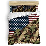 Savannan Bedding Duvet Cover Sets 4Pcs, Luxury Soft Bedding Set with Zipper Closure, Country Style American Flag and Camouflage Lightweight Microfiber Duvet Cover Sets Full Size (No Comforter)