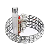 Hipiwe Mirrored Crystal Vanity Makeup Tray - 10 Inches Sparkly Bling Jewelry Trinket Display Tray Decorative Makeup Tray Cosmetic Perfume Organizer Tray for Dresser bathroom Home Decor (Silver)