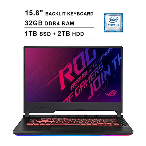 2020 Asus ROG Strix G 15.6 Inch 120Hz FHD 1080P Gaming Laptop (Intel 6-Core i7-9750H up to 4.5 GHz, GeForce GTX 1650 4GB, 32GB DDR4 RAM, 1TB SSD (Boot) + 2TB HDD, Backlit KB, WiFi, HDMI, Win 10)
