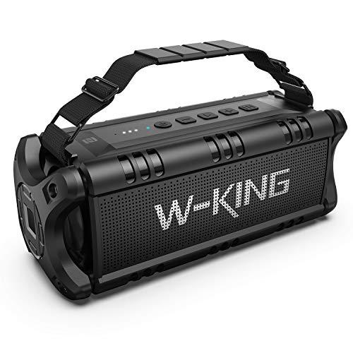 W-KING 50W(70W Peak) Enceinte Bluetooth Portable & Batterie de Recharge 8000 mAh, Autonomie 24 hrs, Haut-Parleur Extérieur Étanche TWS Subwoofer avec NFC, Son Stéréo et Basses Puissantes