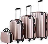 Conjunto de 4 maletas rígidas, 2 manijas, compartimentos de viajes de 4 ruedas,Rose gold