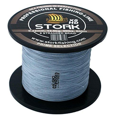 Stork - Trecciato da pesca a 8 fili, 600 m, grigio chiaro