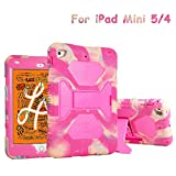 ACEGUARDER iPad Mini 5 Case 2019 7.9' for Kids Full Body Protective Silicone Cover with Adjustable Kickstand for Apple iPad Mini 4 Mini 5 Case(Camo/Pink)