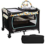 BABY JOY 4 in 1 Nursery Center, Portable Pack and Play with Bassinet, Changing Table, Cradle, Wheels and Brakes, Cute Toys, Oxford Bag, Foldable Baby Playard for Indoor Outdoor (Blue)