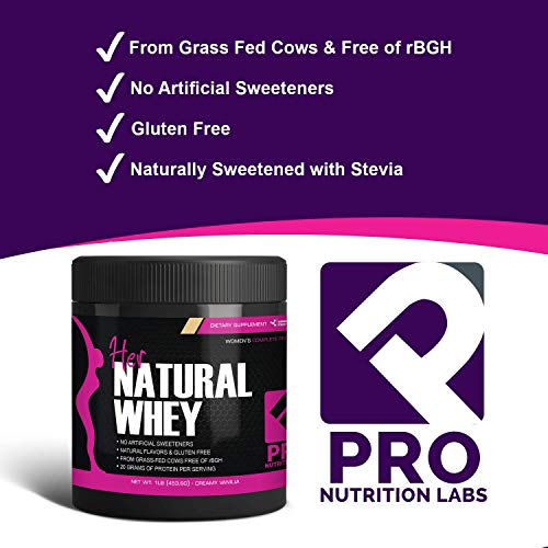 Protein Powder For Women - Her Natural Whey Protein Powder For Weight Loss & To Support Lean Muscle Mass - Low Carb - Gluten Free - rBGH Hormone Free - Naturally Sweetened with Stevia - Designed For Optimal Fat Loss (Creamy Vanilla) - Net Wt. 1 LB 7