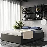DHP Maven Platform Bed with Upholstered Linen and Wooden Slat Support and Under Bed Storage, Grey Size - Grey