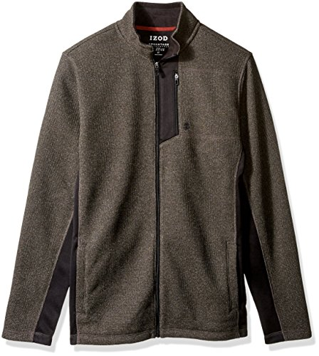 IZOD Men's Big Advantage Performance Full Zip Fleece Jacket, b.Heather, Large Tall