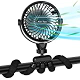 Portable Handheld Fan, 2600mAh Battery Powered Personal Desk Baby Fan Air Circulator Fan with Flexible Tripod, Ultra Quiet 4 Speed 360° Rotatable USB Fan for Stroller Office Camping Hurricane Outage,Black