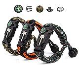 Vdealen Lot de 3 Bracelets de Survie en paracorde avec Allume-feu, Boussole, sifflet et Boucle en...