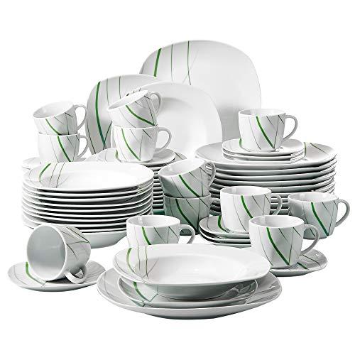 VEWEET, Tafelservice \'Aviva\' aus Porzellan 60 teilig   Kombiservice beinhaltet Kaffeetassen 175 ml, Untertasse, Dessertteller, Speiseteller und Suppenteller  Komplettservice für 12 Personen