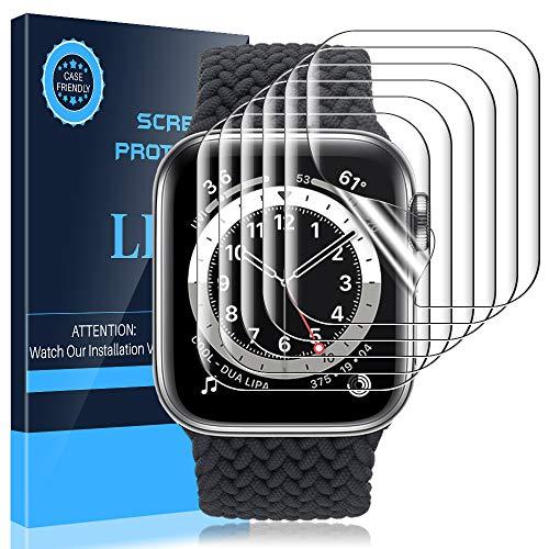 LK Pellicola Protettiva per Apple Watch 44mm Series 6/5/4/SE, [6 Pezzi] [Copertura Massima] HD Trasparente TPU Silicone Pellicola Compatibile iwatch 44mm / 42mm , LK-X-72